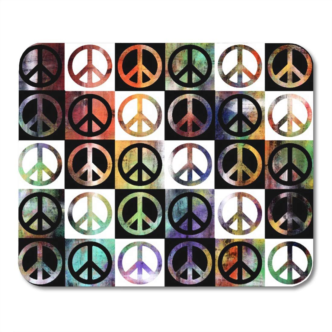 Aikul Mouse Pads Paint Peace Sign Mosaic Sixties Seventies Hippie Symbol Mouse Mat 9.5 x7.9 Mouse Pad Suitable for Notebook Desktop Computers Office Accessories