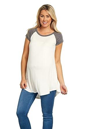 c4b90a6602178 PinkBlush Maternity Charcoal Colorblock Cuffed Short Sleeve Top ...