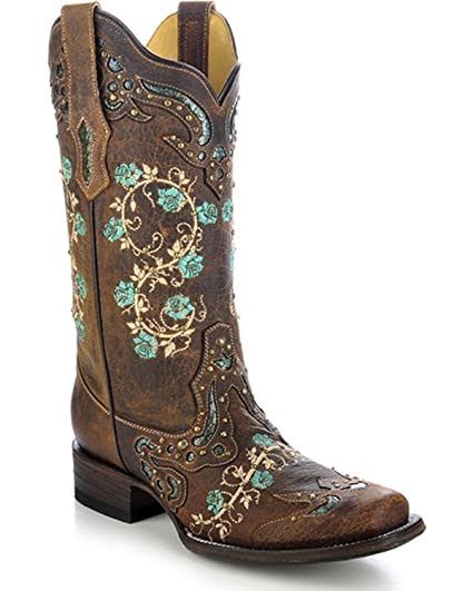 598f32b074d CORRAL Women s Studded Floral Embroidery Cowgirl Boot Square Toe Brown 6 ...