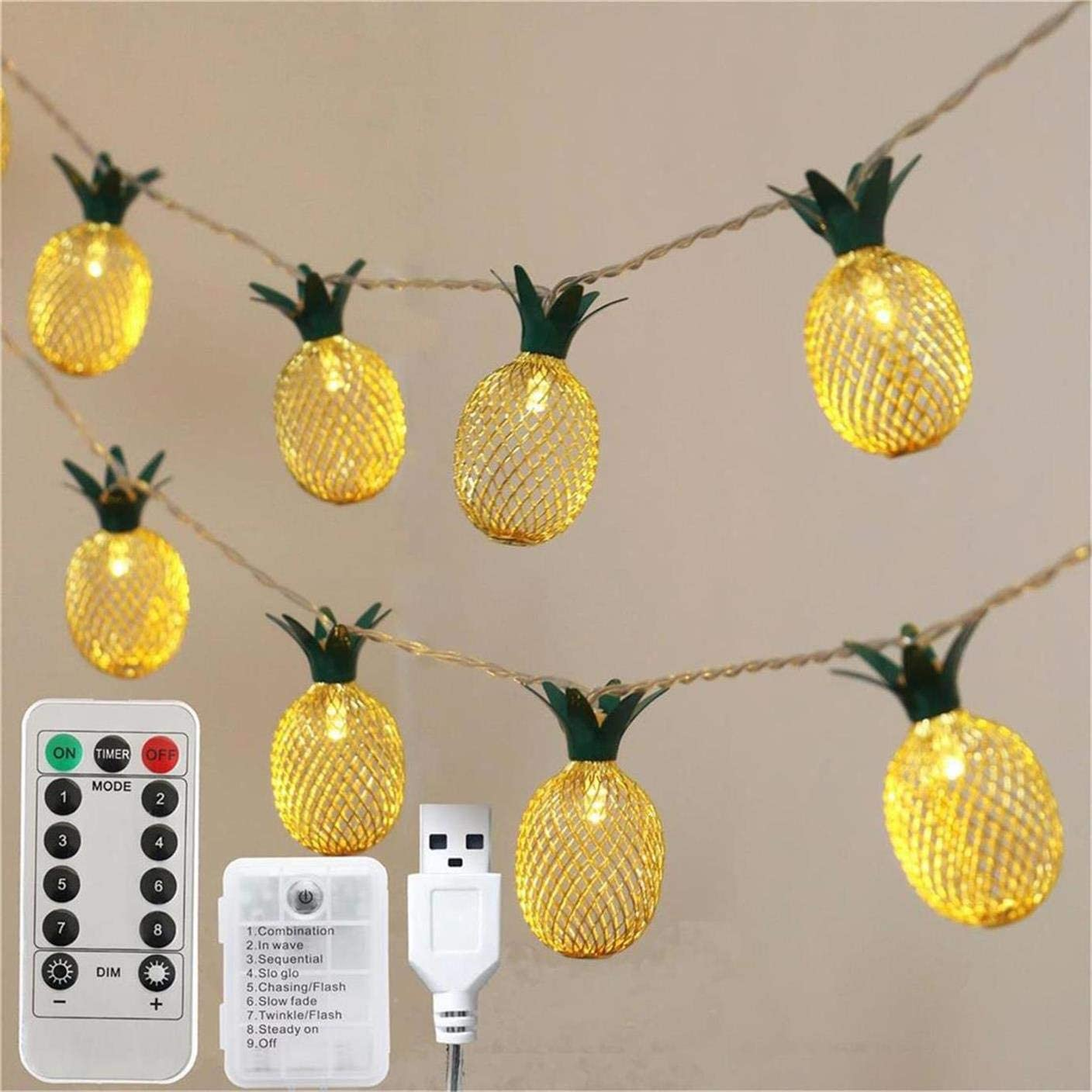 YXYQR 10ft 20 Pineapple LED String Lights Battery Operated/USB Plug with Remote Timer Indoor Outdoor Fruit Fairy Mood Lights for Home Porch Christmas Bedroom Garden Party (Warm White)