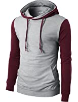 H2H Mens Casual Slim Fit Long Sleeve Color block Hoodie With V- Design line