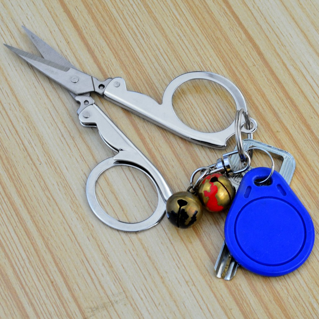 4 Pieces Stainless Steel Folding Scissors, cnomg Portable Foldable Travel Scissors