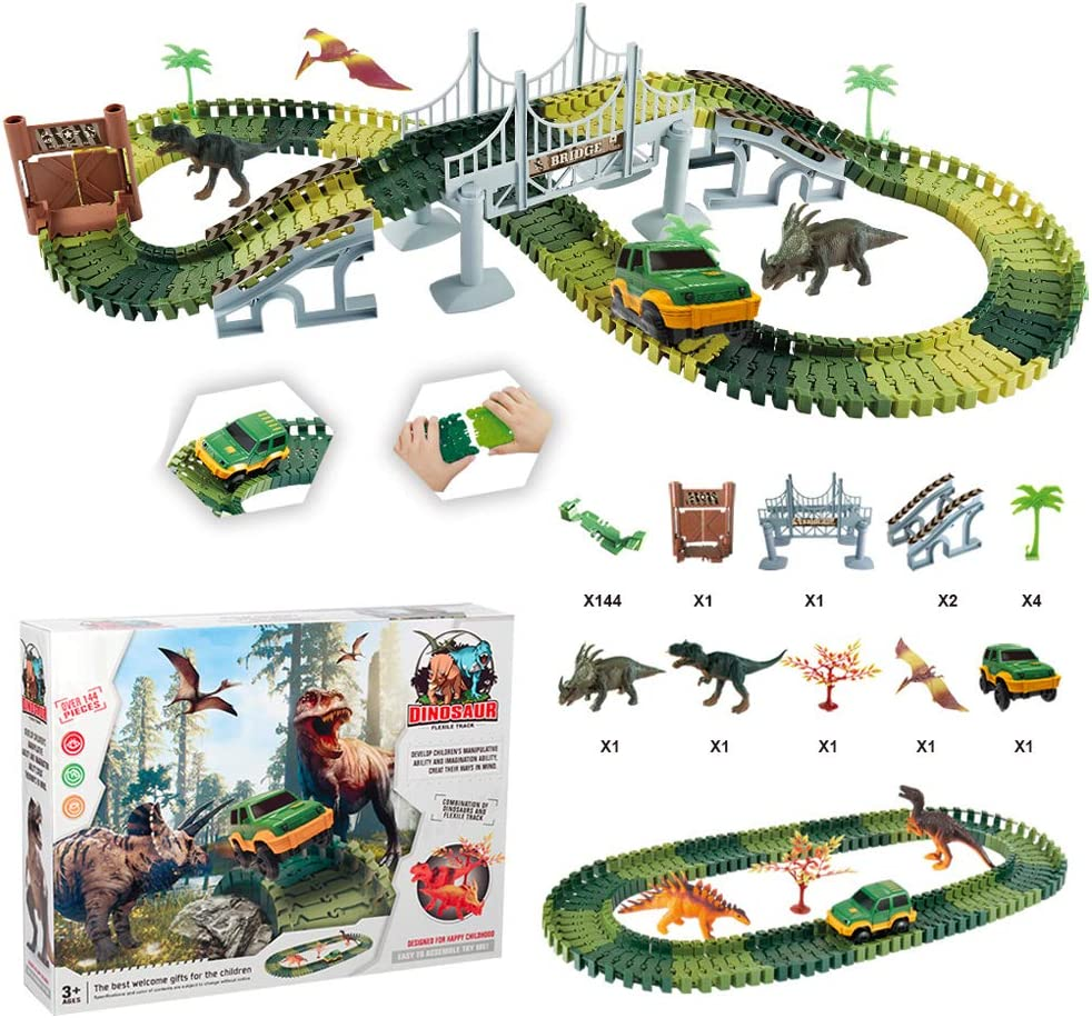 Girls and Toddlers Ages 3 Toys Activities for Kids Best Gifts for Boys 5 Build an Dinosaur Adventure Race Car Track Set Learning Toy 4 6+ (157 Pcs) Dinosaur Toys Track for Boys and Girls