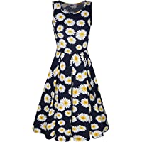 STYLEWORD Women's Summer Floral Round Neck Sleeveless Casual Midi Flared Tank Dress