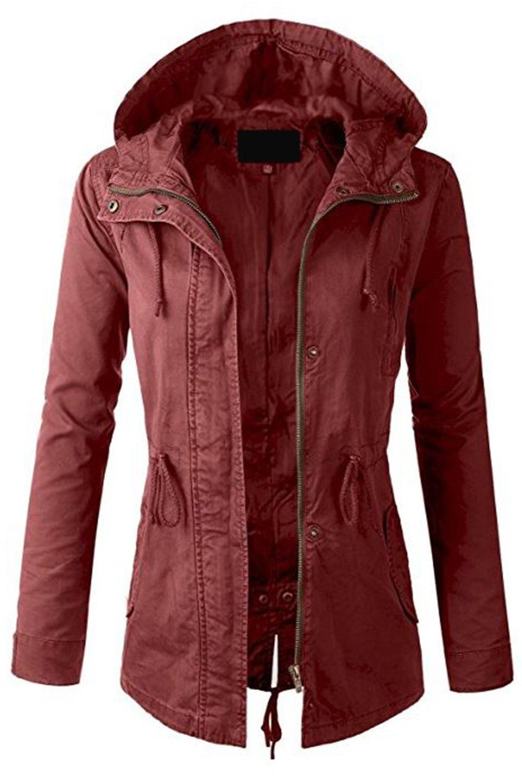 FASHION BOOMY Womens Zip up Military Anorak Jacket W/Hood (Large, Marsala)
