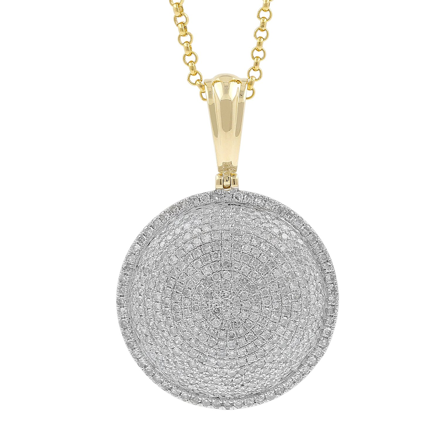 2.05ct Diamond Iced Round Medallion Style Mens Hip Hop Pendant Necklace in 10kt Yellow Gold (H-I, I1-I2)