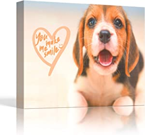 Canvas Wall Art - Bathroom Wall Decor, Cute Beagle Puppy Canvas Print, Funny Dog Wall Art, Framed Canvas Picture Decor for Wall Bedroom, Dog Lover Gift, Ready to Hang, Cuadros de Baños Dormitorio