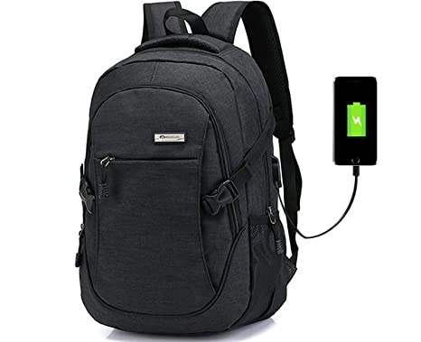 Doingbag Laptop Backpack Business Waterproof Hiking USB Charging Port Camping  Outdoor Rucksack, Black