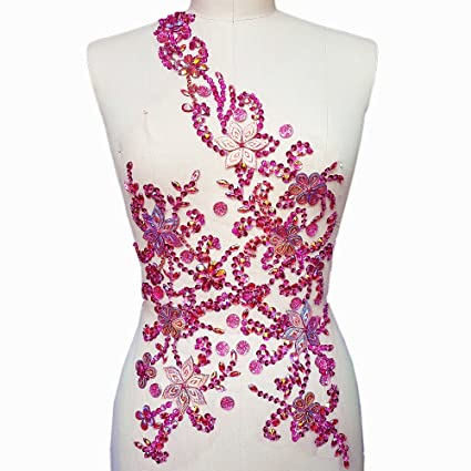 17a33e4ac39 Noble Pure Handmade Beaded Crystal Rose Red AB Patches Sew on Rhinestones  with Stones Sequins Beads