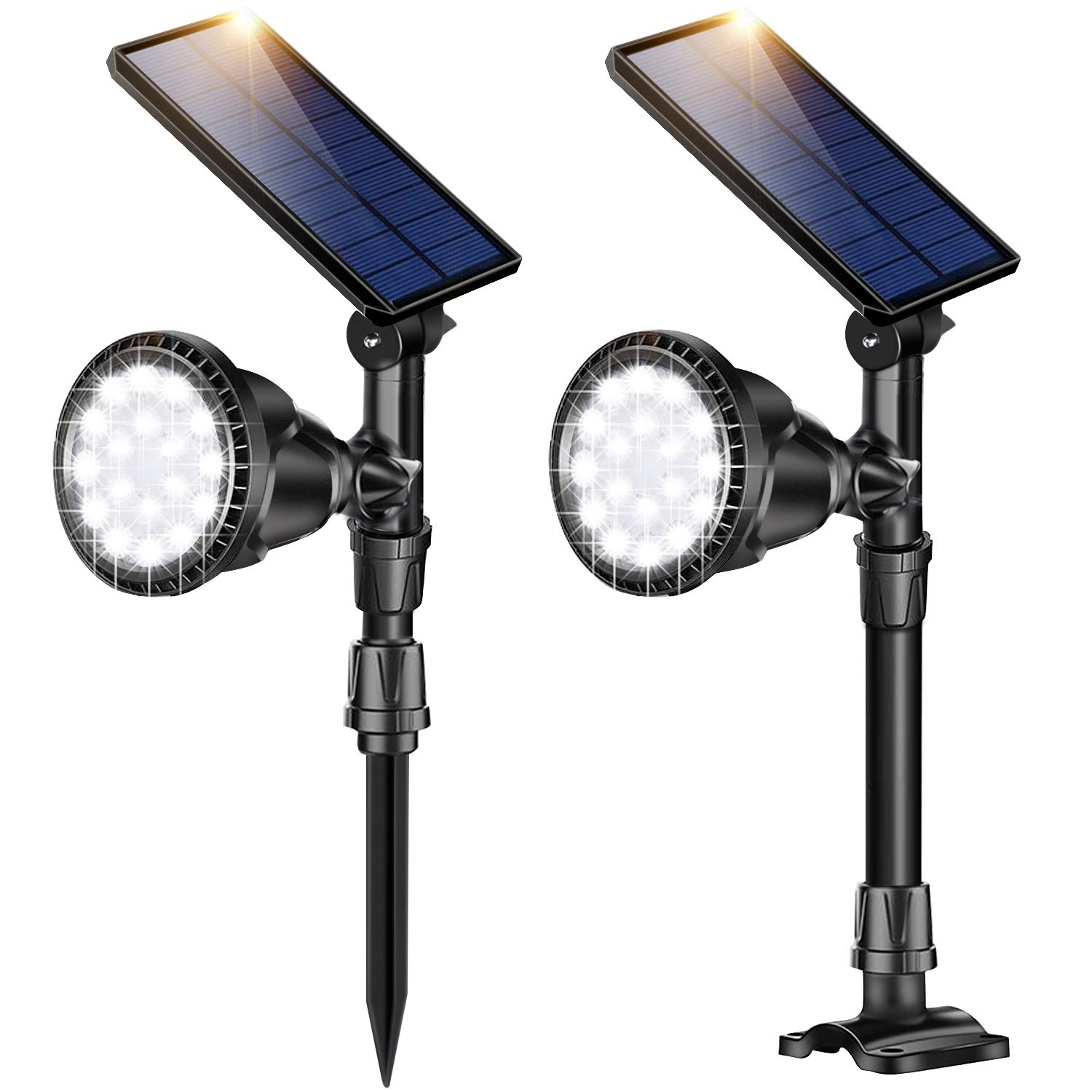 DS Lighting Outdoor Solar Spotlights, Super Bright 18 LED Security Light Waterproof Wall Lamps for Garden Landscape Patio Porch Deck Garage (Cool White, 2 Pack)