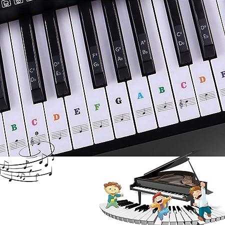 Pegatinas para pianos o teclados,Pegatinas para teclados,Etiqueta engomada del teclado de piano,Pegatina Teclado Electrónico para 37/49/54/61/88 ...