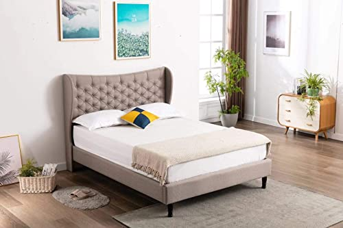 Home Life Light Grey Premiere Cloth Linen 51″ Tall Headboard Platform Bed