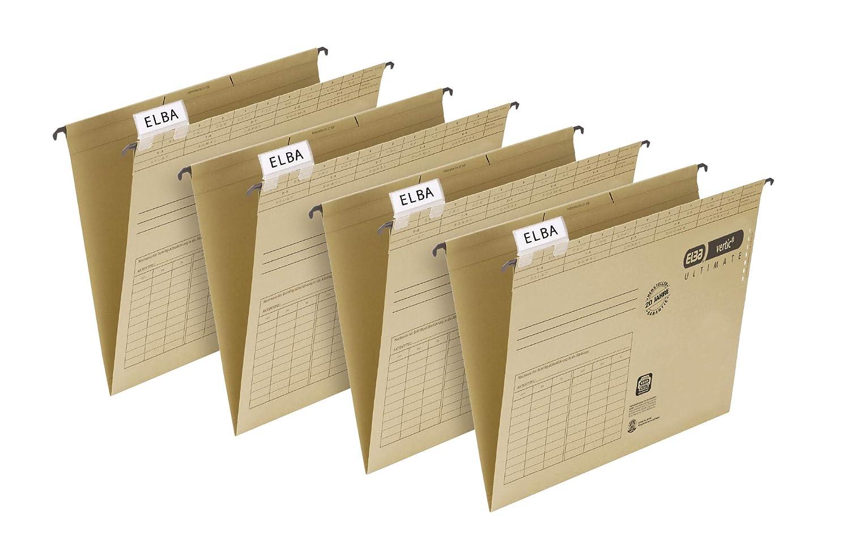 ELBA 100560133 H/ängetasche vertic ULTIMATE 10er Pack aus Recycling-Karton f/ür DIN A4 seitlich geschlossen braun Blauer Engel ideal f/ür die lose Blatt-Ablage im B/üro und der Beh/örde