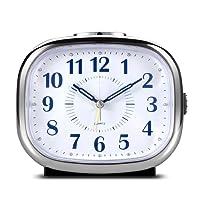 CEEBON Non Ticking Desk Alarm Clock, Analog Quartz Alarm Clock with Analog Mechanical Bell Alarm Chord Music Alarm Snooze Silent Nightlight, Battery Powered