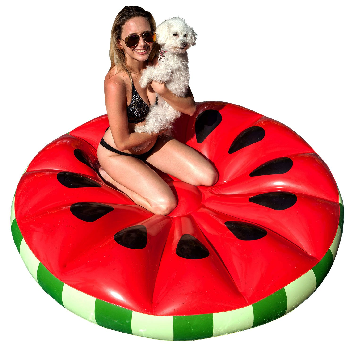U.S. Pool Supply Giant 5 Foot Inflatable Watermelon Slice Pool Float - Fun Kids Swim Party Toy - Summer Pool Lounge Raft