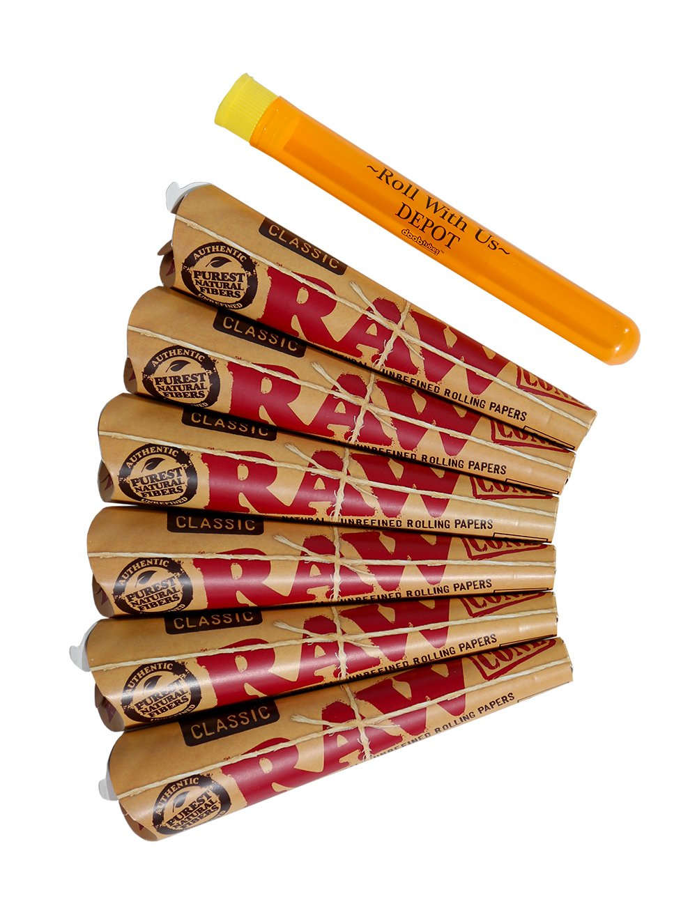 RAW 1 1/4 Classic Rolling Paper Pre-Rolled Cones (6 packs of 6 cones, 36 total) Includes Roll With Us Doobtube by Roll With Us Depot
