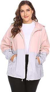 IN'VOLAND Plus Size Rain Coat Waterproof Jacket Hooded Rainwear with Contrast Color Lightweight Coat Quick Dry Windbreaker Jacket Outdoor Outwear Hiking Camping Wear Breathable Loose Fit