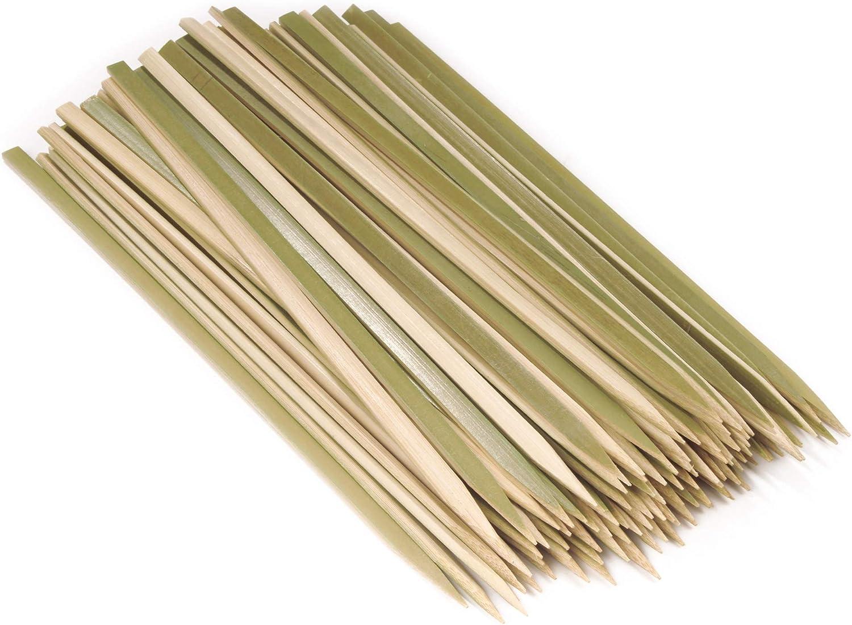 "BambooMN Brand - Premium Flat Style Bamboo Wood BBQ Kebab Meat and Fruit Food Skewers, 10"" - 100 pcs"