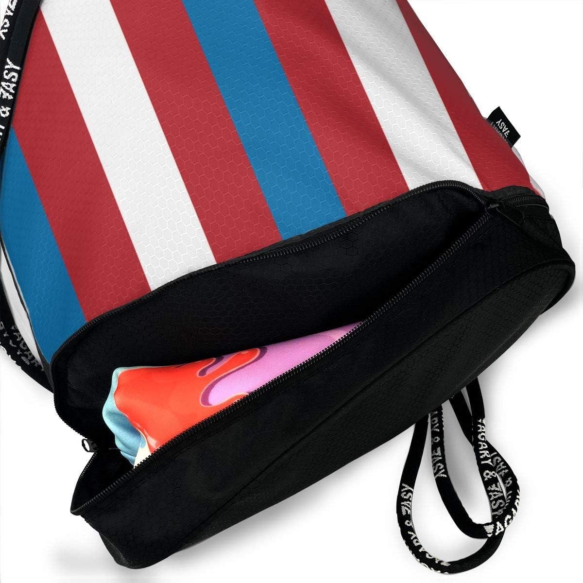 Drawstring Backpack Colonial Simple Strip Shoulder Bags