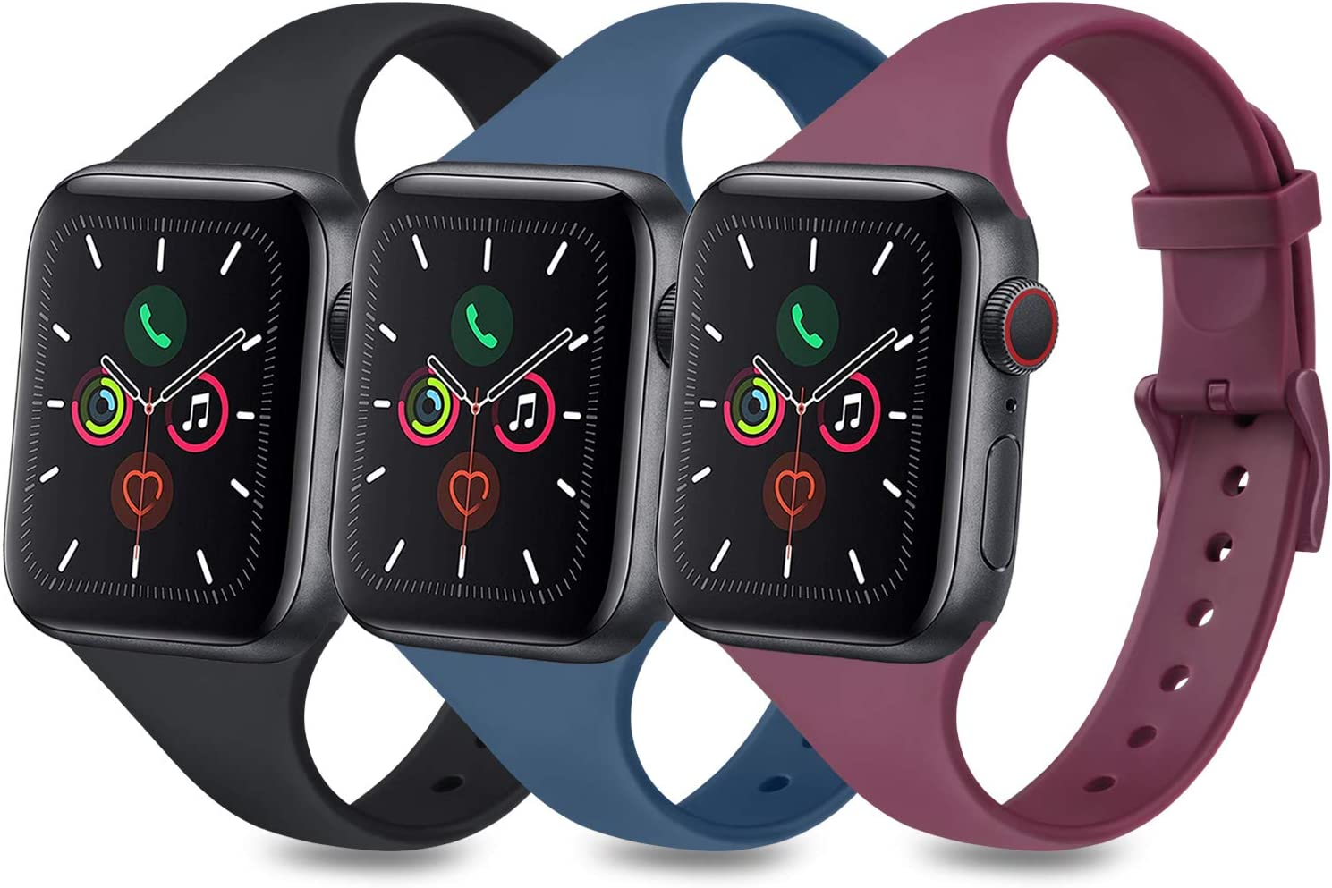 3 Pack Sport Bands Compatible with Apple Watch Band 38mm 40mm 42mm 44mm, Slim Thin Narrow Soft Silicone Replacement Strap for iWatch Series 6 5 4 3 2 1 SE (Black/Navy Blue/Wine Red, 38mm/40mm-M/L)