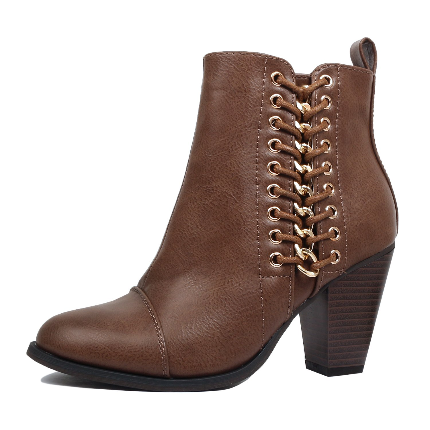 Guilty Heart | Womens Strappy Buckle Bootie | Chunky Block Heel Ankle Boots (7.5 B(M) US, Brownv2 Pu)