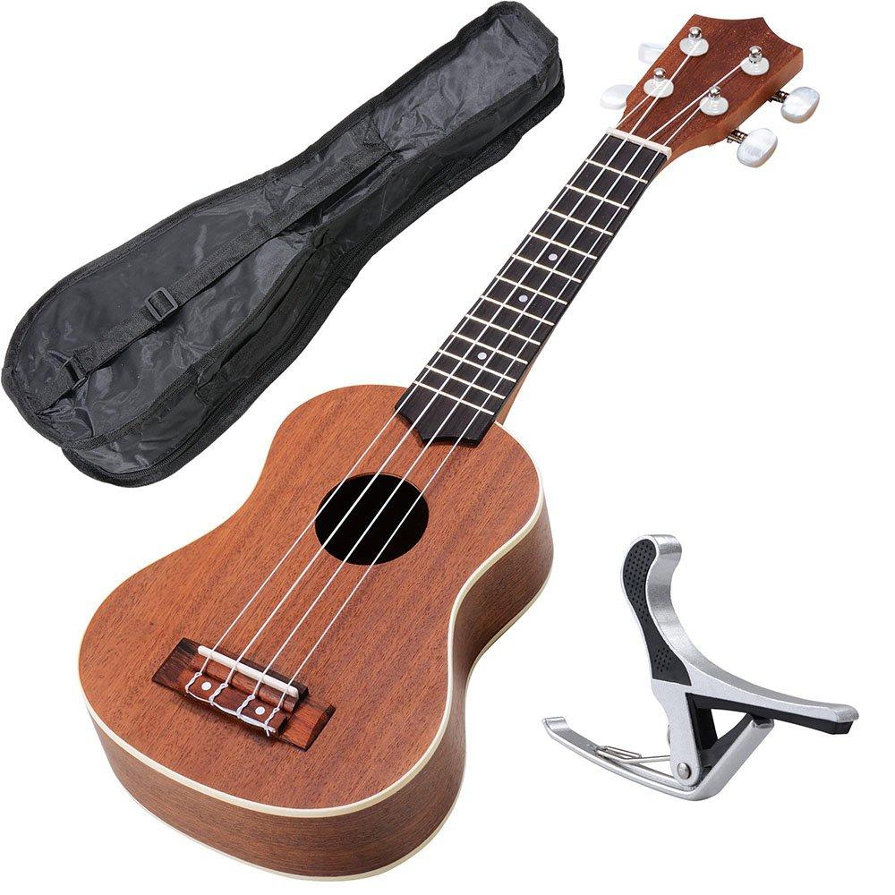 AW 21 Inch Blue Soprano Ukulele Basswood w/Bag Aluminum Capo For Adult Kids Study Musical Instrument Hobby AW-UKE000007