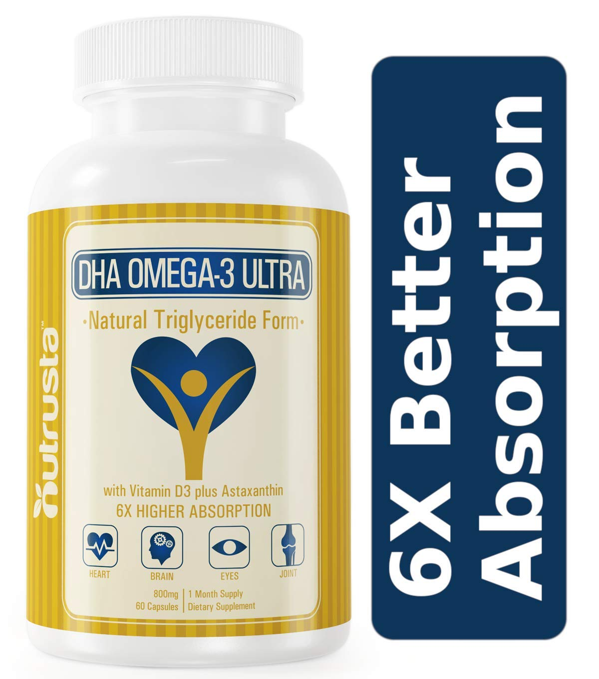 DHA Omega-3 Ultra Fish Oil, High DHA Supplement, 6X Better Absorption* Vitamin D3, Astaxanthin, 60 Small Softgels, Burpless by Nutrusta