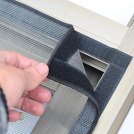 Cortina magn/ética Cortina de malla de fibra de vidrio Pantalla de ventana Cortina anti mosquitera Velcro Red de gasa de cortina Cortina de malla de ventana de arena-A 80x150cm 31x59 Mosquiteras