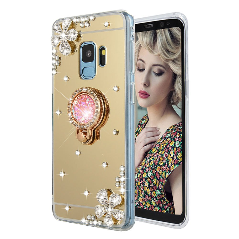 Cistor for Samsung Galaxy A8 2018/A5 2018 Mirror Case, Luxury Bling Diamond Soft TPU Rubber Makeup Case Cover Anti-Scratch Shockproof Protective Case with Ring Stand Holder - Rose Gold