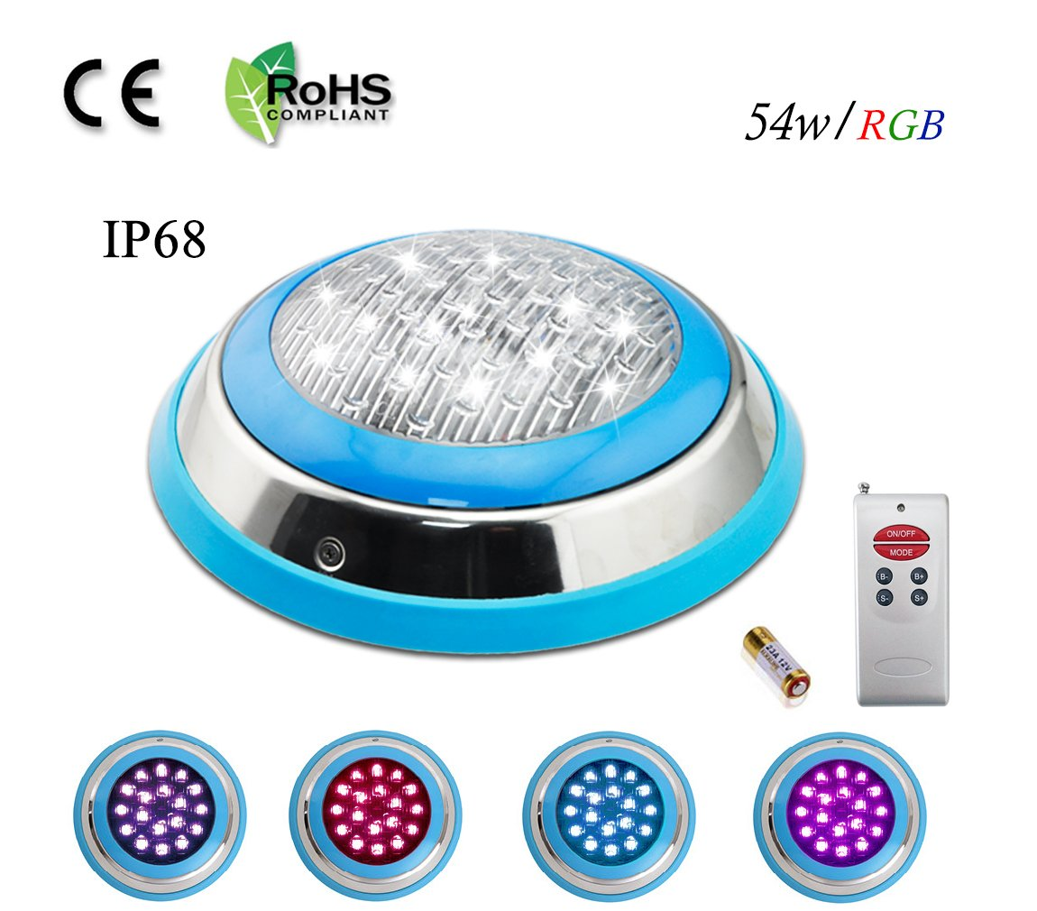 COOLWEST LED RGB Underwater Swimming Pool Light Stainless Steel/Surface Mount,12V AC/DC Waterproof IP68,Remote Control Included by COOLWEST
