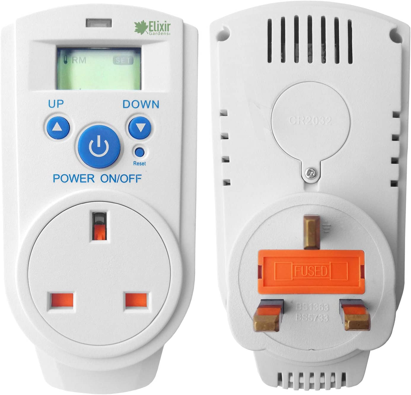 Elixir Gardens /® Plug In Thermostats Humidity Controllers Digital and Analogue Heating Cooling