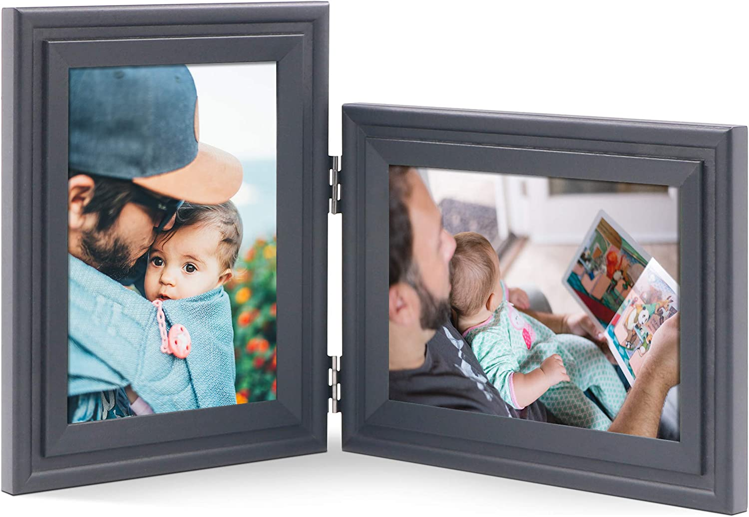 JD Concept Vertical Horizontal Combo, 5x7 Double Black Wood Hinged Picture Frame, Desktop or Wall Mounted, Portrait and Landscape View (Paint Frame, Glass Front)