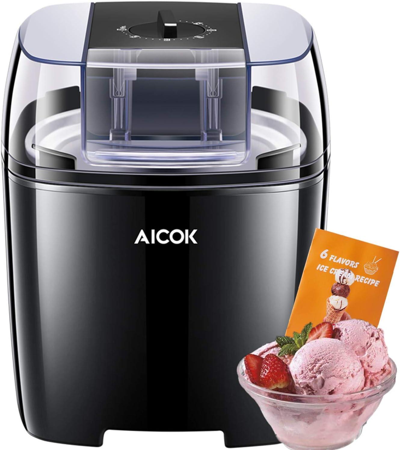 A+ Maquina de Helados con Temporizador de Yogur y Sorbetes con 1.5 Litro, 250W, Libre de BPA, Recetas Incluido, Negro