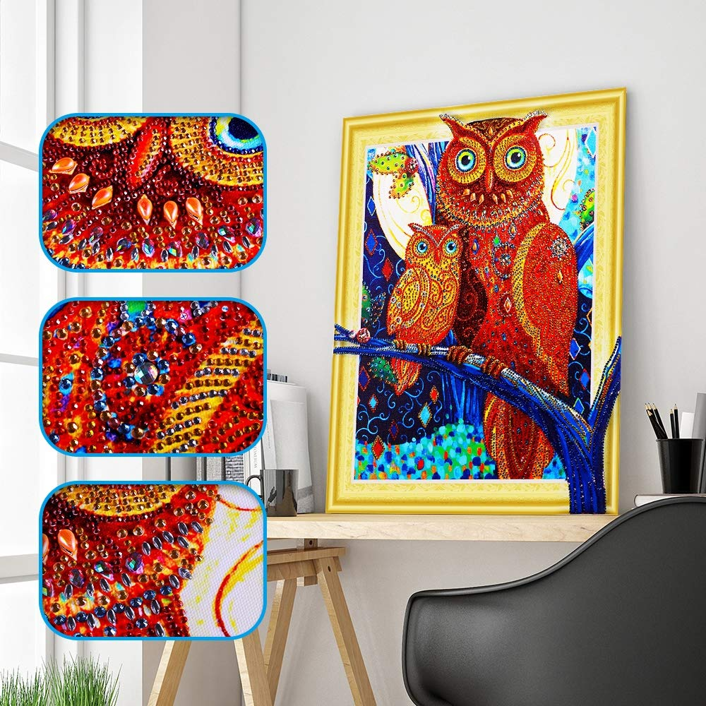 DIY 5D Diamond Painting Kit for Adults Children NYEBS 5D DIY Diamond Painting Special Shaped Drill Animal The Owl Mother and Son Rhinestone Embroidery for Wall Decoration 12X16 inches