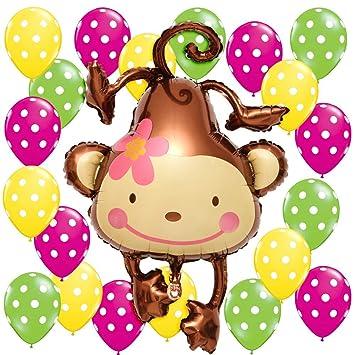 LUCK COLLECTION Globos de Mono para 1er cumpleaños ...