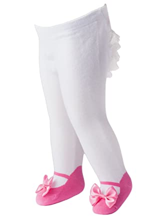 ab6f43f88649 Mille Feuille Baby Girls Ruffle Tights Mary Jane Bow Pink (6-12 Months)