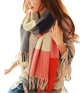 Wander Agio Womens Fashion Long Shawl Big Grid Winter Warm Lattice Large Scarf