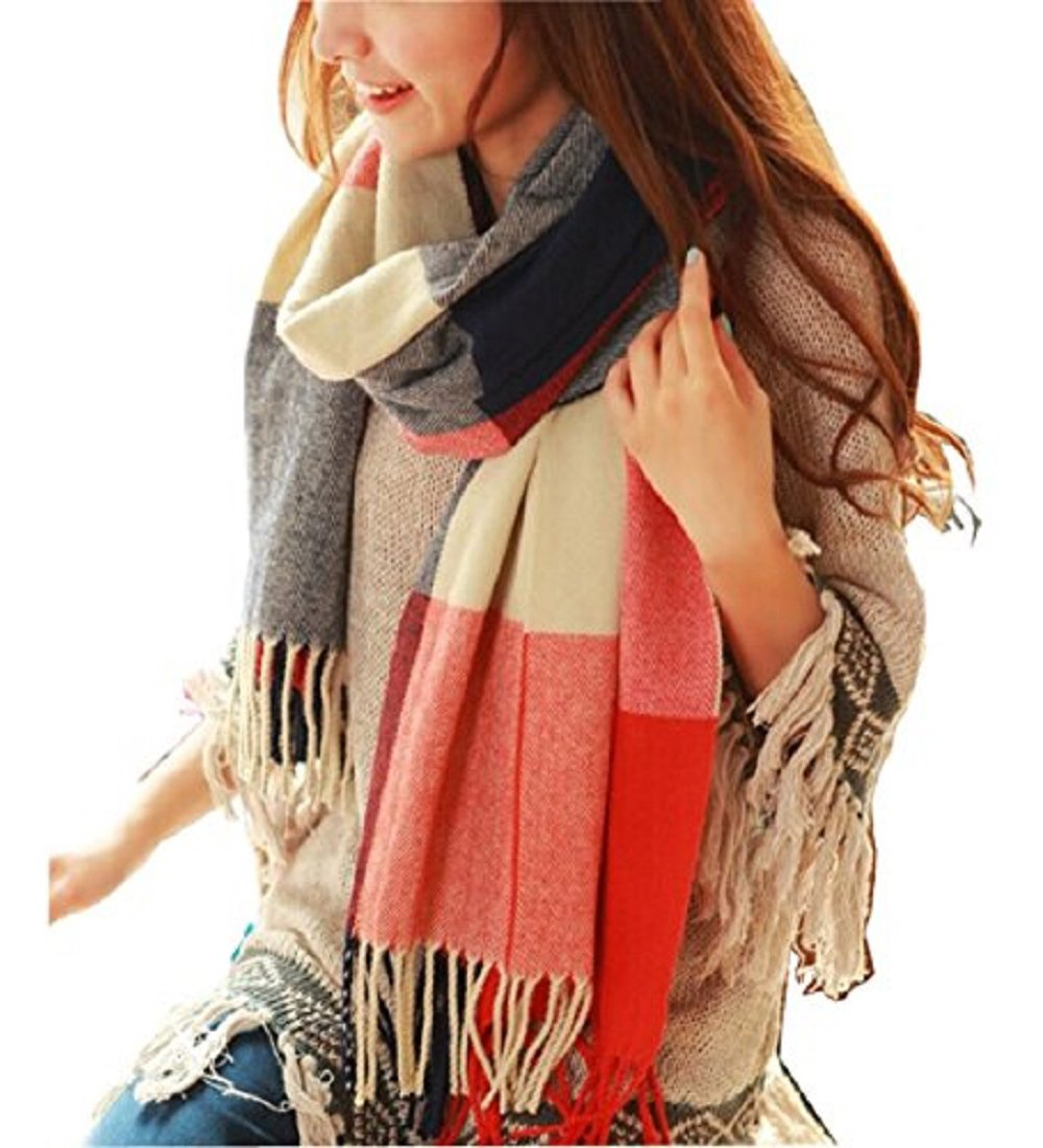 Wander Agio Women's Fashion Long Shawl Big Grid Winter Warm Lattice Large Scarf Orange Red Winter