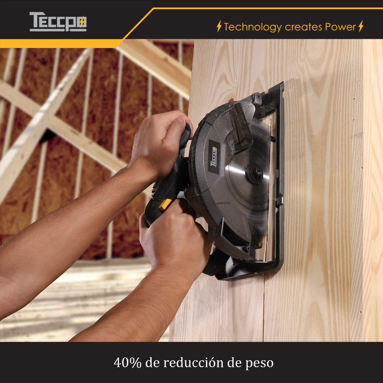 ... TECCPO Profesional 1200W Sierra Circular Eléctrica 5800 RPM, con Hoja de 185 mm 24 Dientes, Profundidad de Corte 63 mm (90°), 45 mm (45°), Guía de Metal ...
