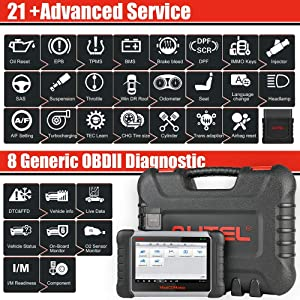 Autel MaxiCOM MK808BT Diagnostic Scan Tool Automotive Scanner with All Systems Diagnosis, 21 Special Functions, IMMO Keys, ABS Brake Bleed, Oil Reset, EPB, SAS, BMS, DPF, TPMS, Upgraded Ver. of MK808 (Color: Bluetooth Professional Scan Tool)