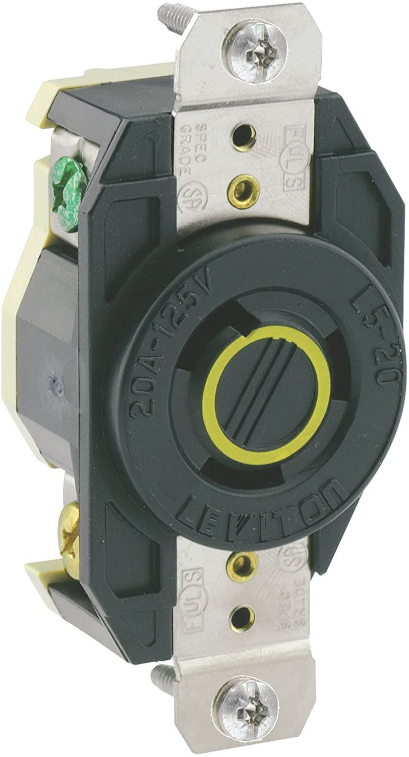 Leviton 2310 20 Amp, 125 Volt, Flush Mounting Locking Receptacle, Industrial Grade, Grounding, V-0-MAX, pack of 1, Black