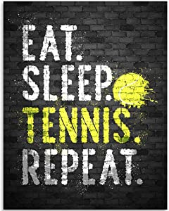 Eat Sleep Tennis Repeat - 11x14 Unframed Art Print - Great Tennis Court Decor