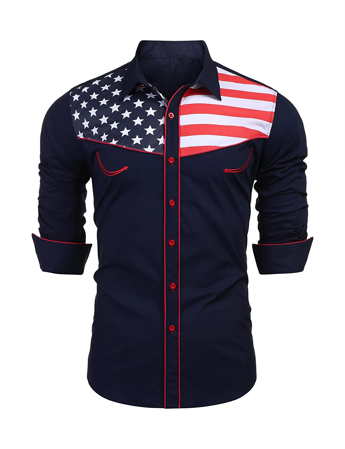 JINIDU Mens American Flag Button Down Shirt Casual Long Sleeve Dress Shirts