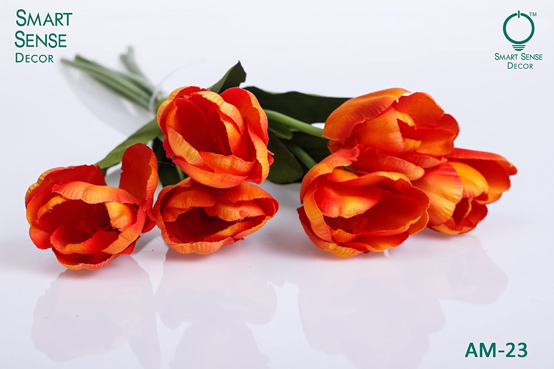 リアルなPU人工Hollandオレンジチューリップ花life-like Faux Bouquet Arrangements forホームキッチンリビングルームダイニングテーブルウェディングセンターピースデコレーション6ヘッド、オレンジ B0781SHM3Y