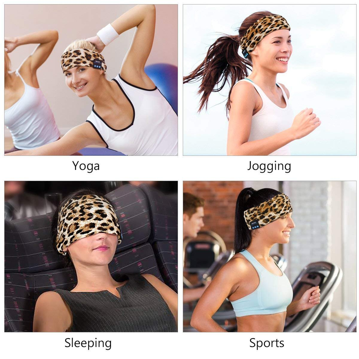 WU-MINGLU Wireless Bluetooth Headband, Wireless Sports headband Sleep Headphones Headset Music Running Headband with Mic Built-in Stereo Speakers for Outdoor Sports Yoga, Leopard -Brown