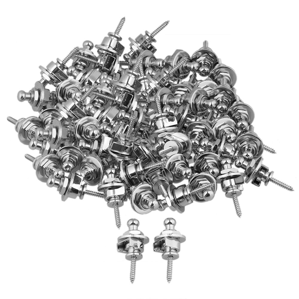 Yibuy Chrome Metal Round Head Guitar Strap Lock Pins Set of 60
