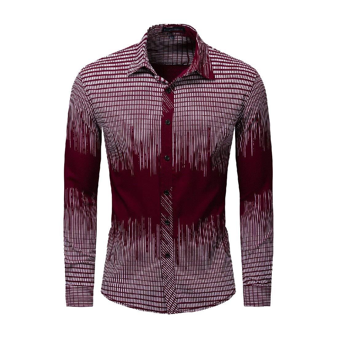 Vska Mens Plaid Long Sleeve Stretch Plus-Size Button Down Cotton Shirt