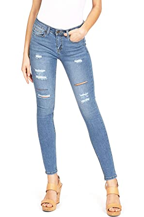 3c60c7fda319 Wax Women's Juniors Mid Waist Distressed Ankle Skinnys at Amazon Women's  Jeans store