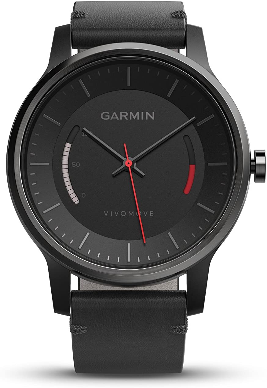 Garmin vívomove Classic - Black with Leather Band