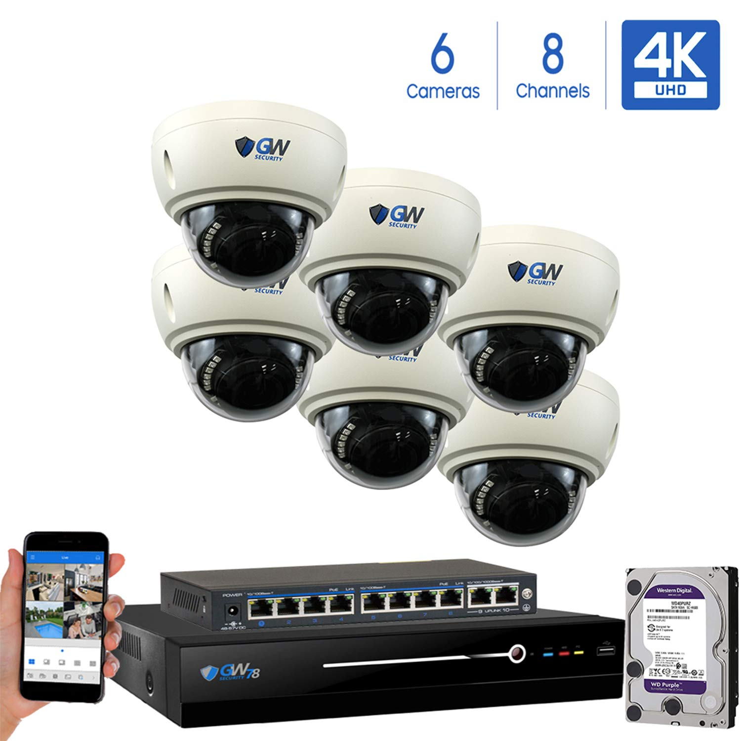 GW 8 Channel 8MP UltraHD 4K 3840×2160 Audio Video Motorized Zoom Home NVR Security System – 6 x Dome 8 Megapixel 2.8-8mm 3X Optical Zoom Waterproof IP PoE Cameras Built-in Microphone